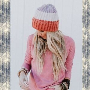 Slouchy chunky knit soft Color block beanie